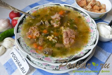 Суп с мясом и грибами в мультиварке-скороварке Шаг 16 (картинка)