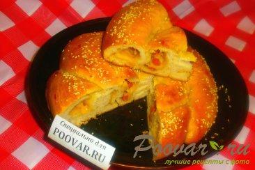 Пирог с сыром и колбасой из дрожжевого теста Шаг 15 (картинка)