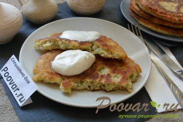 Лепешки с сыром и зеленью на сковороде Изображение