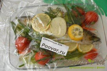 Скумбрия запеченная с овощами в рукаве Шаг 11 (картинка)