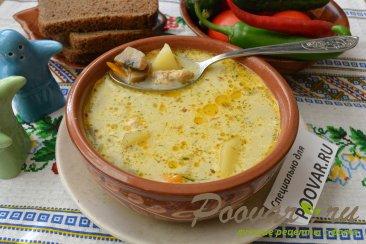 Куриный суп с грибами и сыром Изображение