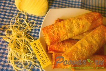 Рулеты из лаваша с сыром в духовке Изображение