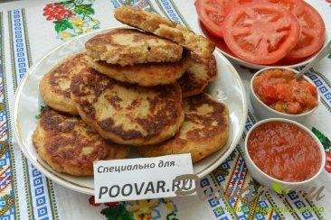 Картофельные оладьи с мясом и сыром Изображение