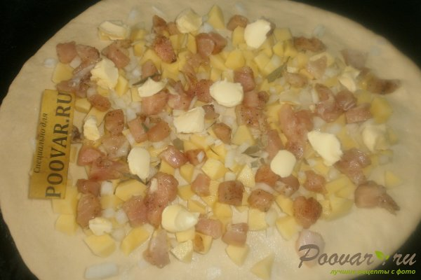 Пирог с картофелем и курицей из дрожжевого теста Шаг 14 (картинка)