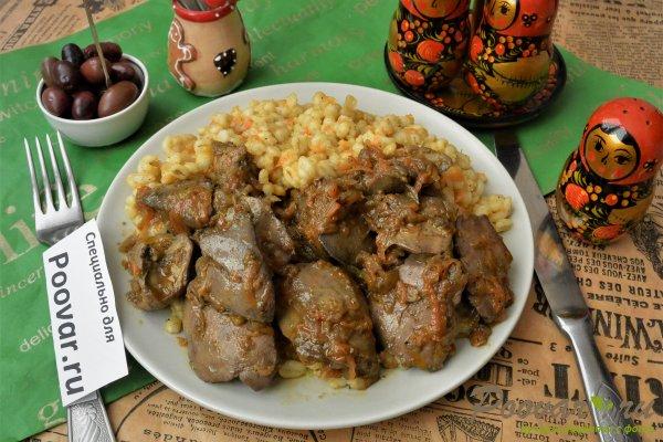 Жареная куриная печень с луком на сковороде Шаг 11 (картинка)