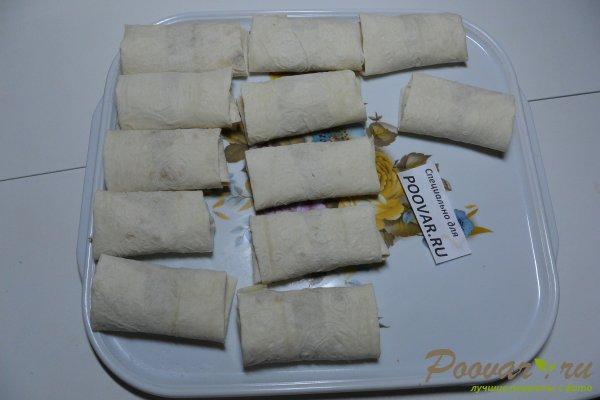 Рулетики из лаваша с картофелем и колбасой Шаг 12 (картинка)