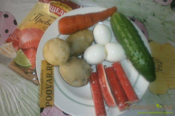Овощной салат с крабовыми палочками и маслинами Шаг 1 (картинка)