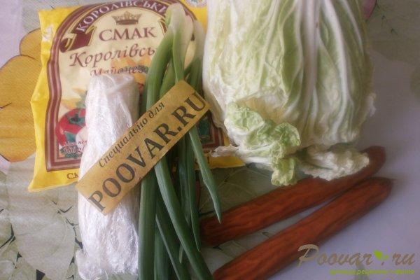 Салат из пекинской капусты с колбасками Шаг 1 (картинка)