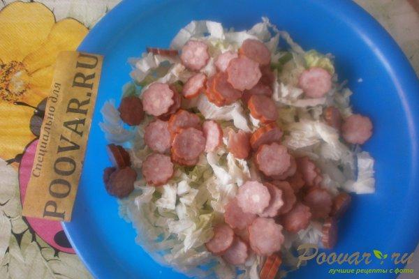 Салат из пекинской капусты с колбасками Шаг 6 (картинка)