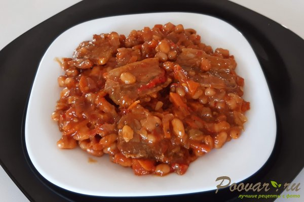 Тушеная фасоль с мясом на сковороде Шаг 11 (картинка)