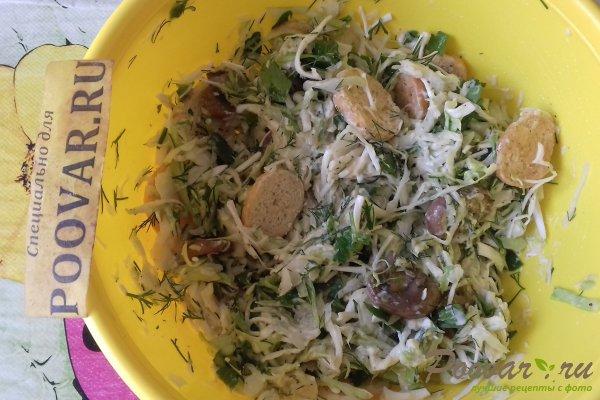 Салат из капусты с сыром, грибами и сухариками Шаг 14 (картинка)