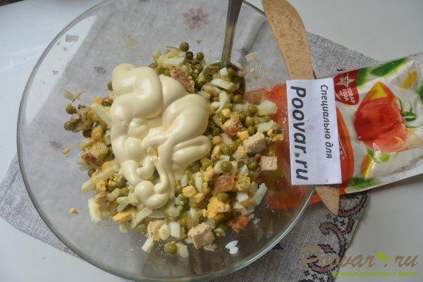 Салат из куриной грудки, яиц и зелёного горошка Шаг 16 (картинка)