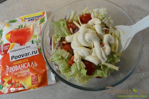 Салат из свежих овощей с яйцом и сыром Шаг 8 (картинка)