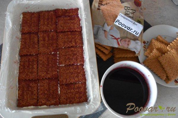 Торт без выпечки из печенья с вишней и кремом Шаг 12 (картинка)