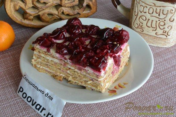 Торт без выпечки из печенья с вишней и кремом Шаг 20 (картинка)
